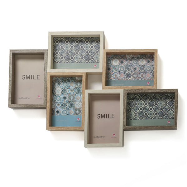 Wood Puzzle Collage Frame - Six Openings