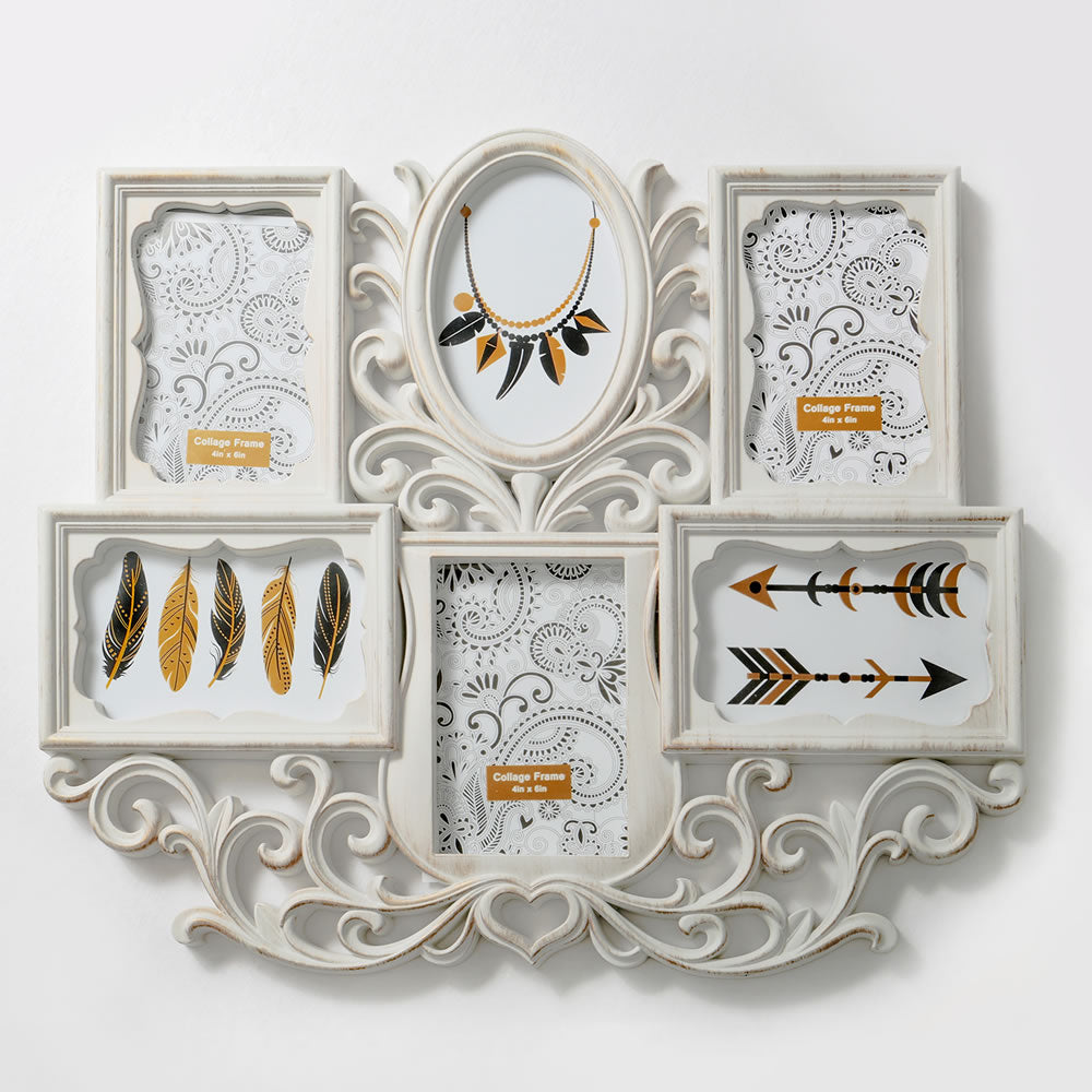 Wall Collage - Antique Ivory Color - Six Openings