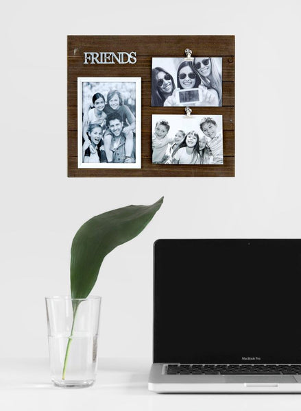 Triple Wood Friends Picture Frame
