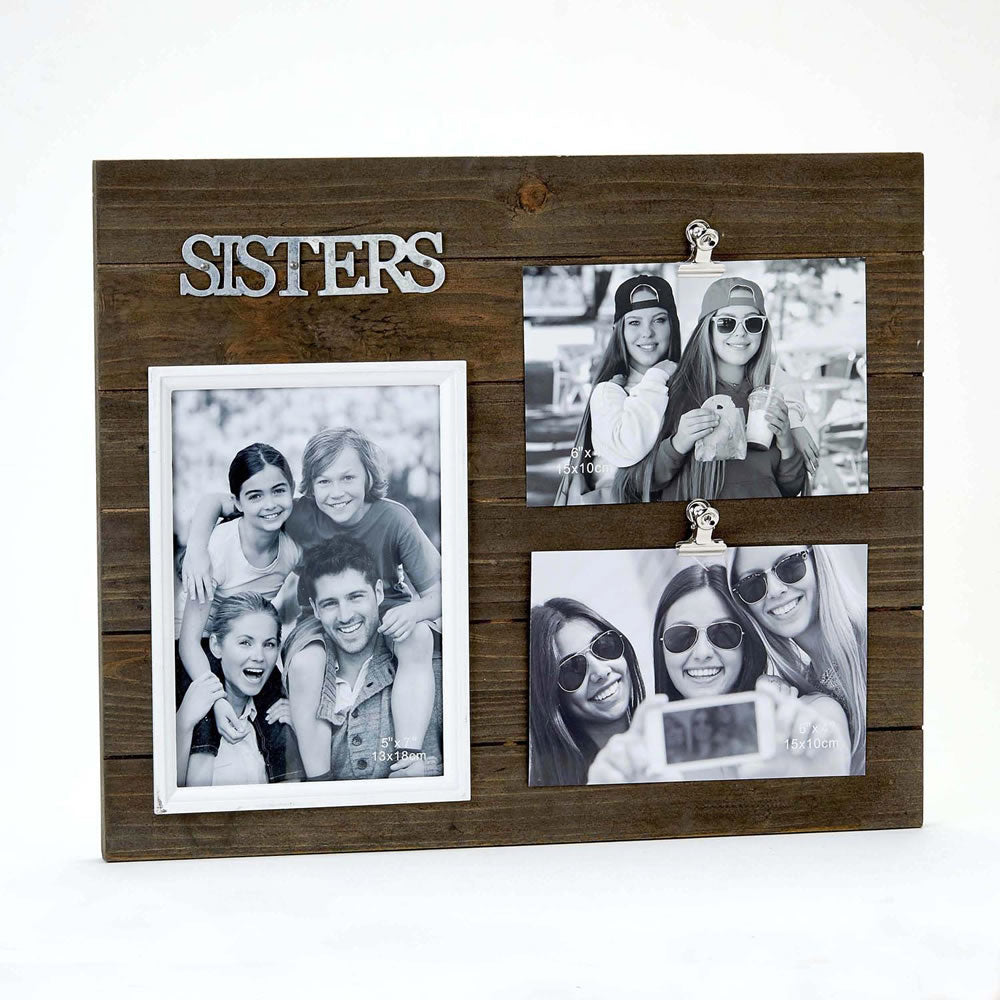 Triple Wood Sisters Picture Frame
