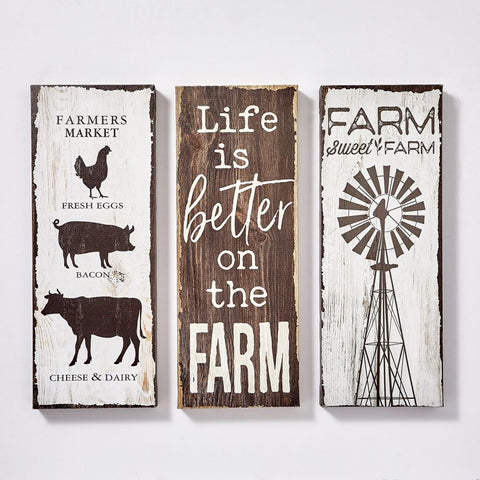 Farm Design Canvas Décor - Set Of Three