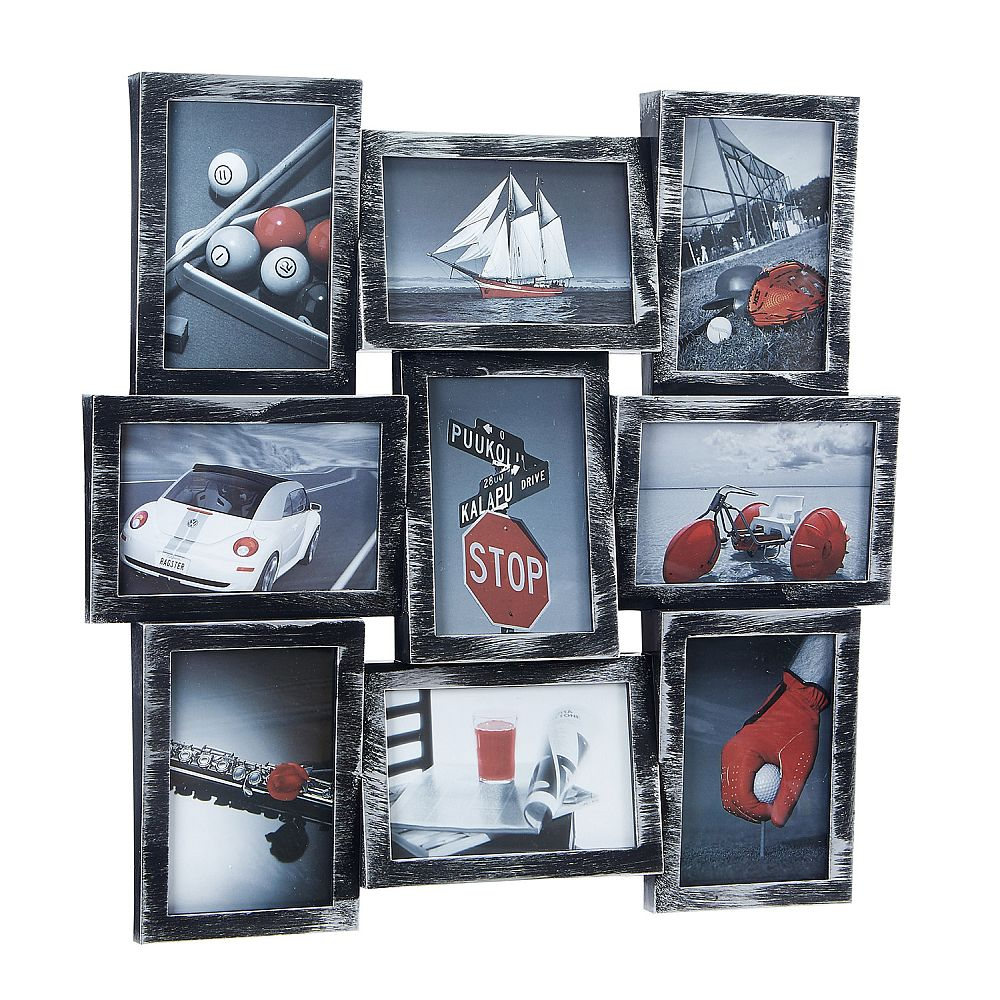 Antique Silver With Black Picture Collage - 9 Openings