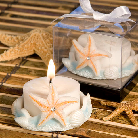 Starfish Design Candle Holder with Blue Ocean Accent