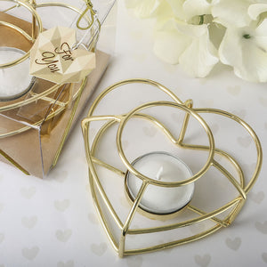 Love Themed Gold Wire Tealight Holder