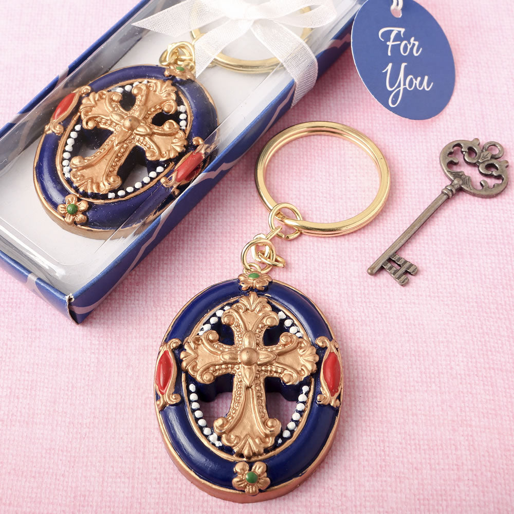 Gold Cross Themed Keychain From Favorrific