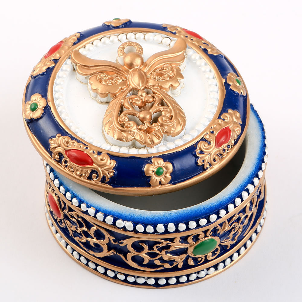 Angel Covered Trinket Box With Gold Accents