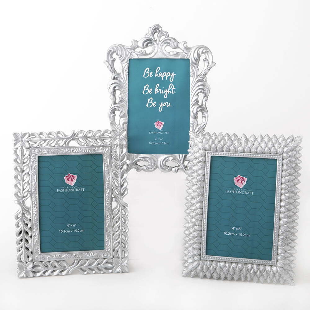 Pearl Silver 4 x 6 Frames - 3 Assorted Styles