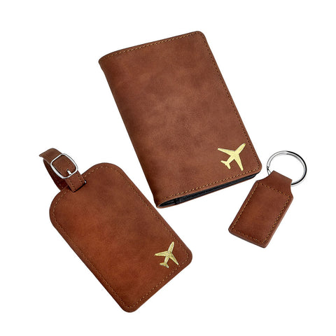 Deluxe Faux Brown Suede Travel Set