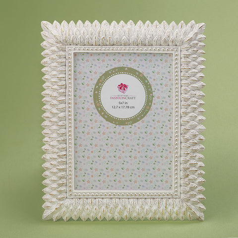 Brushed Leaf Ivory 5 x 7 Picture Frame