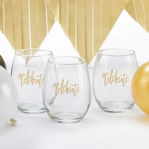 #CELEBRATE 15 oz. Stemless Wine Glass (Set of 4)