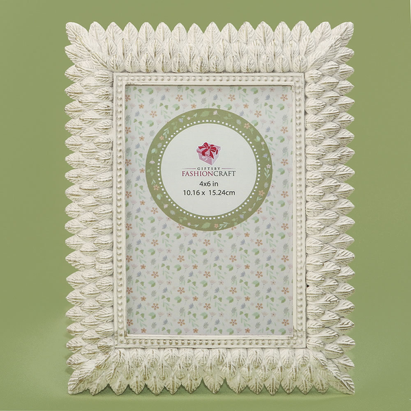 Brushed Leaf Ivory 4 x 6 Picture Frame