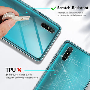 Bakeey for Xiaomi Redmi 9A Case Crystal Transparent Shockproof Non-Yellow Hard PC Protective Case Back Cover