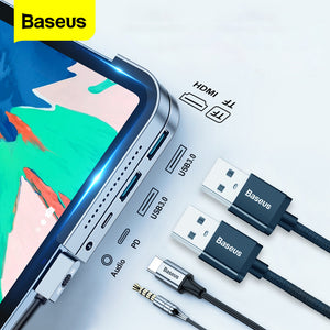 Baseus Upgraded Version USB-C Hub Adapter Docking Station With 2 * USB 3.0 / 60W Type-C PD / 4K HD Display / 3.5mm Audio Jack / TF Memory Card Reader
