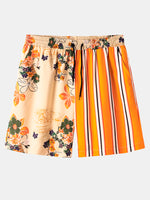 Load image into Gallery viewer, Mens Striped Floral Print Patchwork Drawstring Comfy Causla Shorts