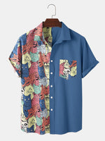 Load image into Gallery viewer, Mens Funny Cartoon Colorful Cat Print Chest Pocket Casual Short Sleeve Shirts