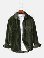 Load image into Gallery viewer, Mens Vintage Corduroy Big Chest Pocket Solid Color Long Sleeve Shirts Jackets