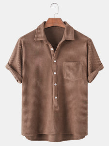 Thin Corduroy Solid Henley Collar Chest Pocket Short Sleeve Shirts