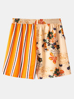 Load image into Gallery viewer, Banggood Designed Mens Striped Floral Print Patchwork Drawstring Comfy Causla Shorts