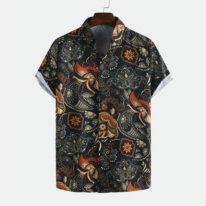 Men Printed Retro Style Summer Casual Short Sleeve Lapel
