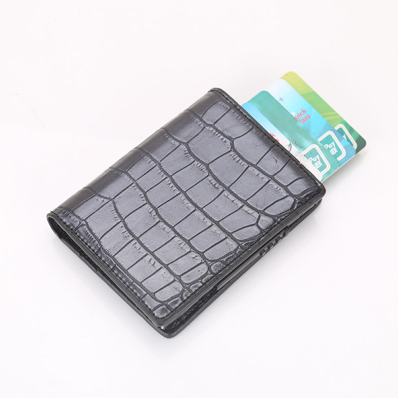 Men Business RFID Anti-scan Mini Carbon Fiber Pattern Automatic Credit Card Aluminum Coins Bag Wallet ID Card Holder