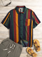 Load image into Gallery viewer, Mens Thin Breathable Cotton Colorful Stripe Holiday Short Sleeve Shirts