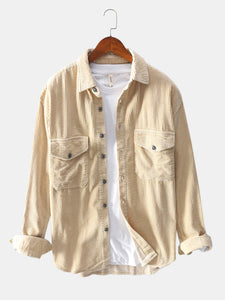 Banggood Design Mens Vintage Corduroy Big Chest Pocket Solid Color Long Sleeve Shirts Jackets