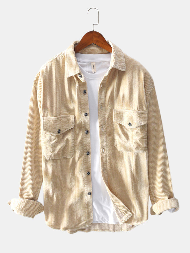 Mens Vintage Corduroy Big Chest Pocket Solid Color Long Sleeve Shirts Jackets