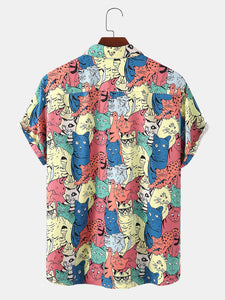 Mens Funny Cartoon Colorful Cat Print Chest Pocket Casual Short Sleeve Shirts