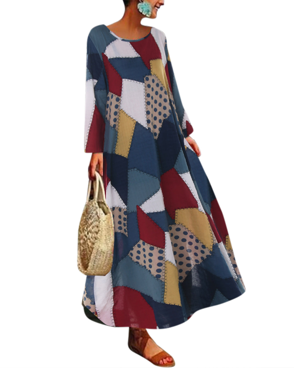 Printed O-neck Baggy Loose Long Sleeve Maxi Dress