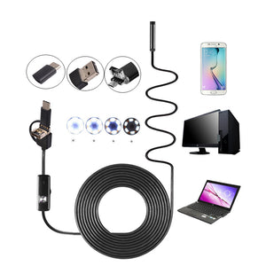 3-in-1 7mm 6LED Rigid Waterproof USB Type C Borescope Inspection Camera 1/2/3.5/5M/10M