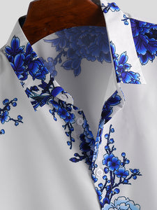 Mens Chinese Style Porcelain Floral Printed Short Sleeve Turn Down Collar Casual Shirts