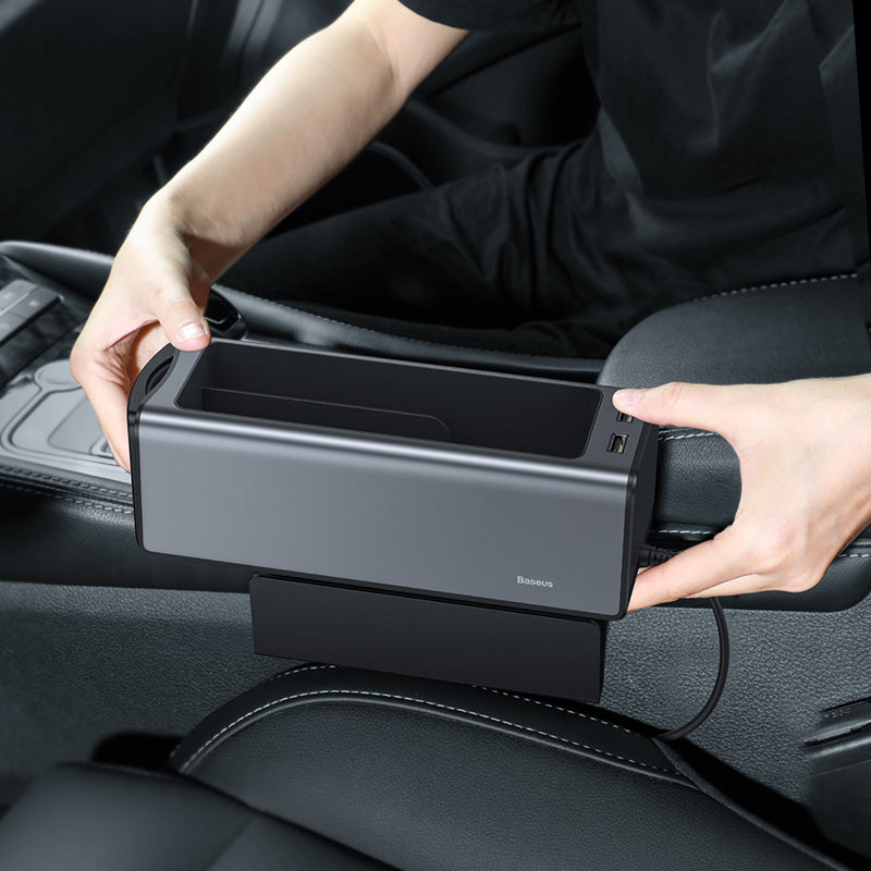 Baseus Car Seat Crevice Gap Organizer Dual USB Power Supply Console Seat Side Coin Wallet Cup Phone Holder Storage Box