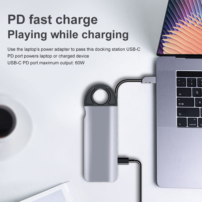 HOWEI 10 In 1 USB-C Hub Docking Station Adapter With 3 * USB 3.0 / 60W Type-C PD / 4K HD Display Video Output / 1080P VGA / RJ45 Network Port / 3.5mm Audio Jack / Memory Card Readers
