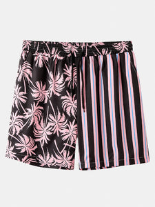 Men Coconut Tree Colorful Stripe Mixed Print Casual Shorts