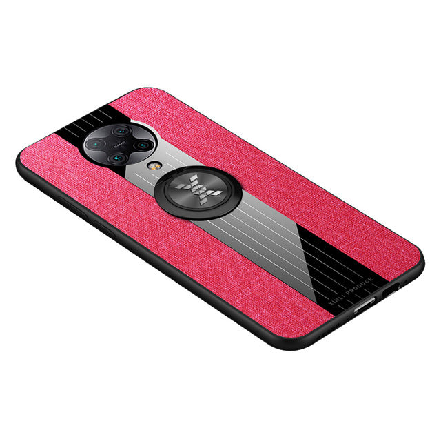 Bakeey for Poco F2 Pro Case with Magnetic Ring Bracket Stand Shockproof Non-slip Cloth Fabric Protective Case