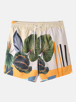 Load image into Gallery viewer, Mens Casual Plants Leave Print Tropical Drawstring Shorts