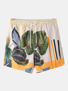 Mens Casual Plants Leave Print Tropical Drawstring Shorts