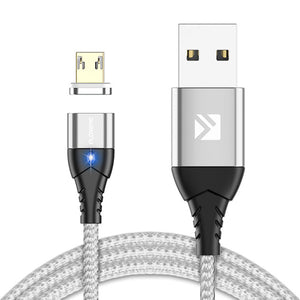 FLOVEME 3A Micro USB LED Magnetic Braided Fast Charging Data Cable 1M For Smartphone iPad Pro Tablet