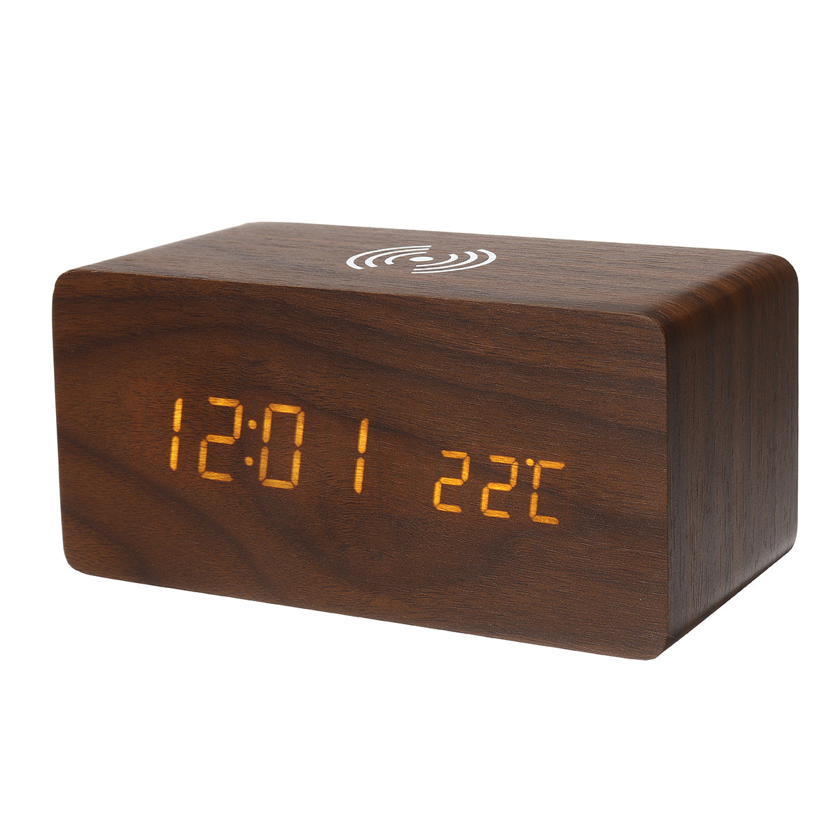 Bakeey 3 in 1 Qi Wireless Charger & LED Digital Alarm Clock & Thermometer Modern Wooden