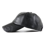 Load image into Gallery viewer, Collrown Men PU Leather Retro Baseball Cap Printed With Logo Outdoor Warm Cap