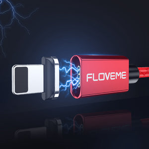 FLOVEME 3A LED Magnetic Micro USB Fast Charging Data Cable 1M For Samsung S7 S6 Xiaomi Redmi Note 5