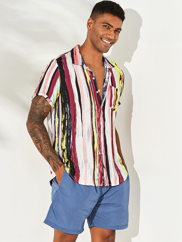 Mens Stripe Printing Graffiti Chest Pocket Short Sleeve Summer Shirts