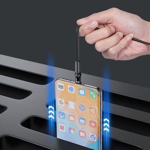 TOPK AM68 3 in 1 Data Cable Elbow LED Indicator Fast Charging USB Magnetic Rotation Line For iPhone XS 11Pro Xiaomi MI10 Redmi Note 9S