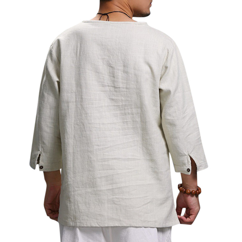 Ethnic Casual Men's Long-sleeved V-neck Solid Color Large Size Loose T-Shirts