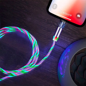 Bakeey Type C Micro USB Magnetic Data Cable 2A Fast Charging Flowing Light LED Luminous Line For Xiaomi Mi10 9Pro Redmi K30