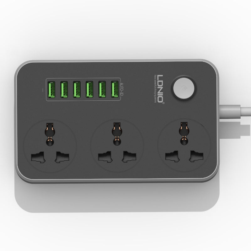 LDNIO 5V 3.4A 3 International Power Socket 6 USB Port 6.56ft/2m EU Plug Charging Socket