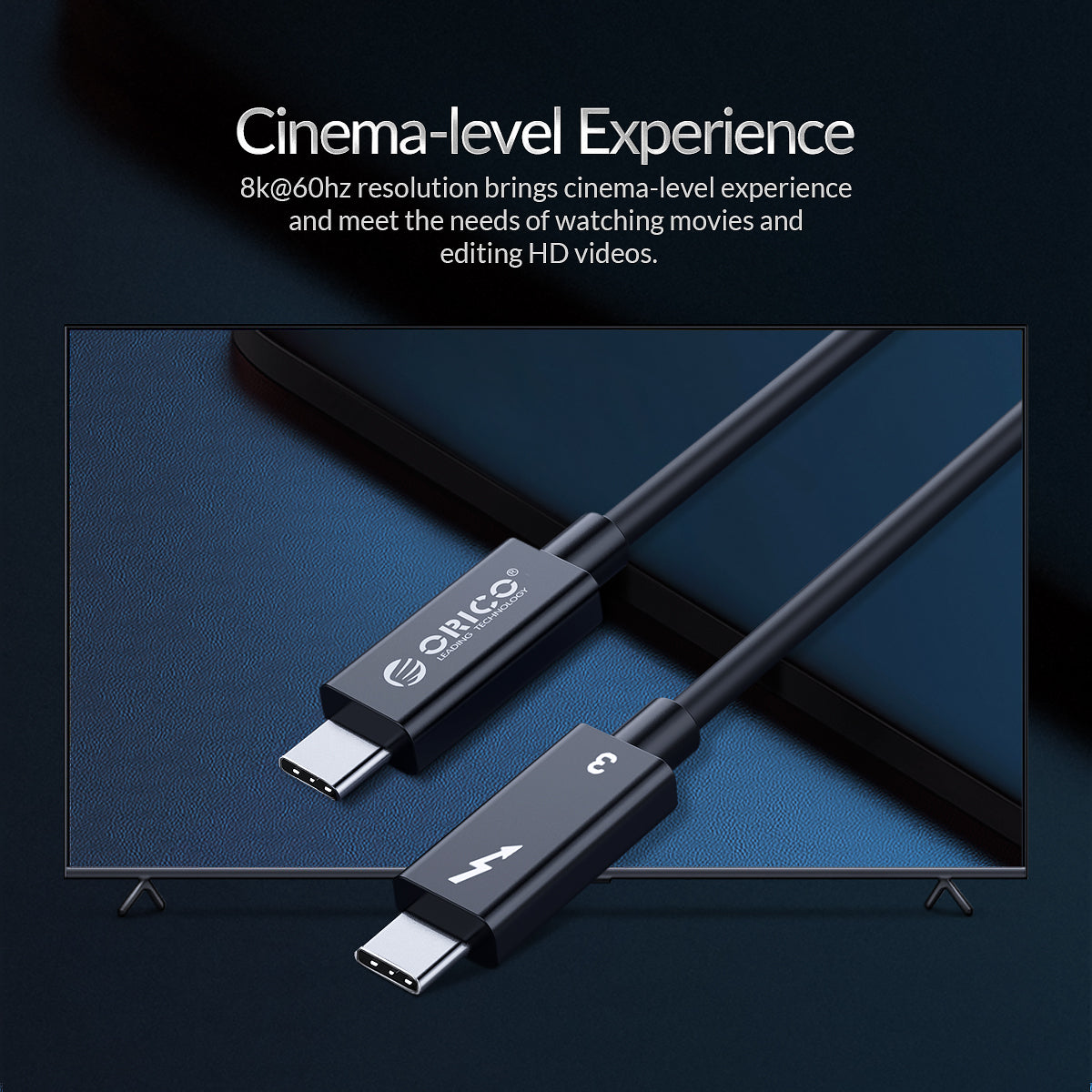 ORICO Thunderbolt 3 Cable USB-C to USB-C 100W PD3.0 Cable 8K 60HZ Video Output 40Gbps Data Transmission Cord For Samsung Galaxy S20 For iPad Pro 2020 MacBook Pro 2020