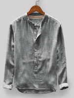 Load image into Gallery viewer, Mens 100% Cotton Vintage Solid Color Button Fly Stand Collar Long Sleeve Casual T-shirts