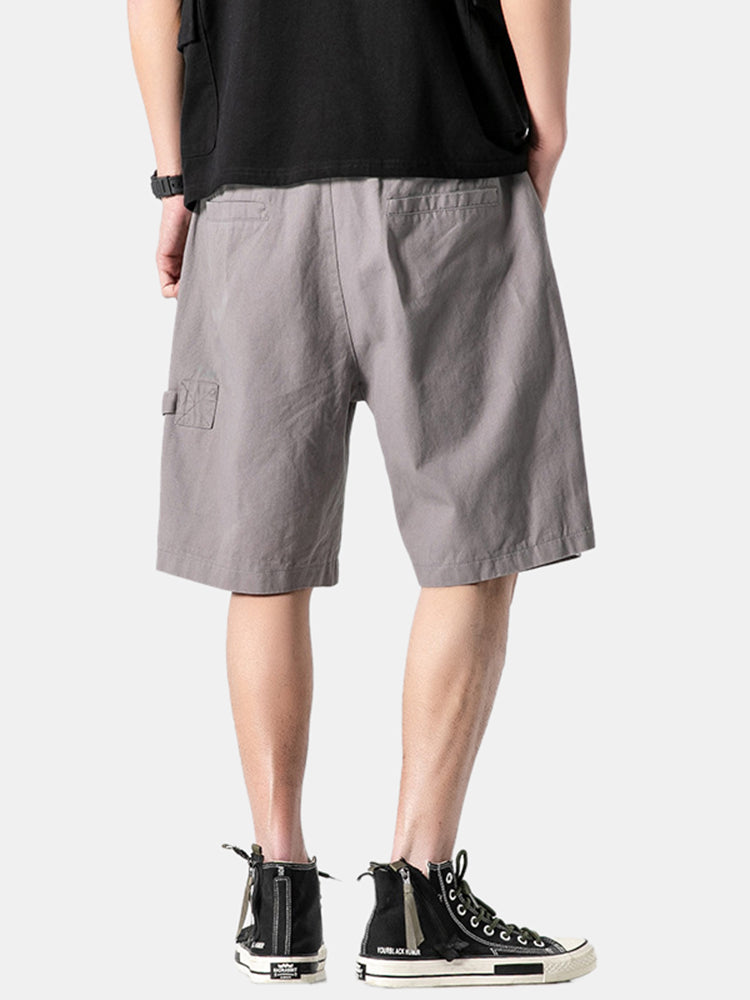 Casual Mens Cotton Solid Color Drawstring Pocket Simple Shorts
