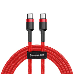 Baseus 60W 3A QC3.0 PD2.0/Type C to Type C Fast Charging Data Cable For Macbook iPad Pro Oneplus 6T